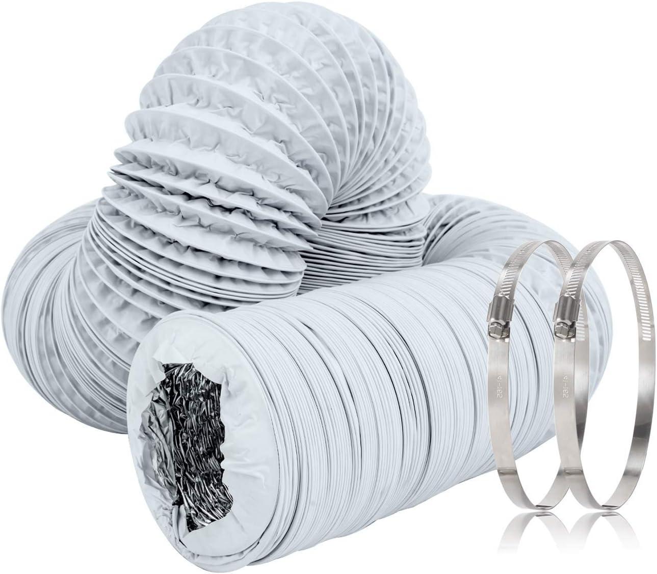 Hon&Guan Tubo de Manguera de Ventilación Tubo Aire Flexible di Aluminio PVC para Extractor de Aire, Climatización, Secadora(ø125mm*10m, Blanco): Amazon.es: Bricolaje y herramientas
