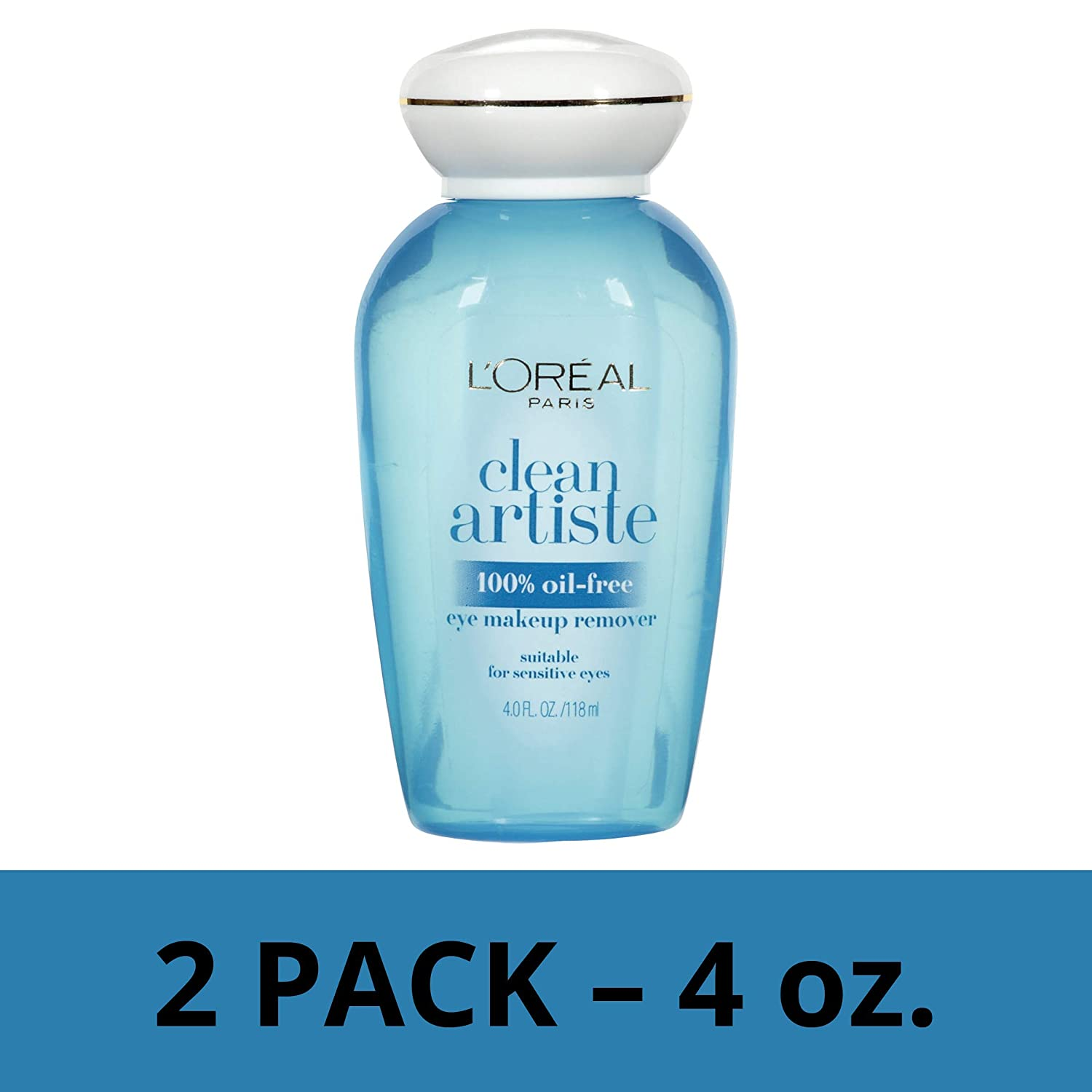 L'Oreal Paris Skin Care Clean Artiste Oil Free Eye Makeup Remover, 2 Count
