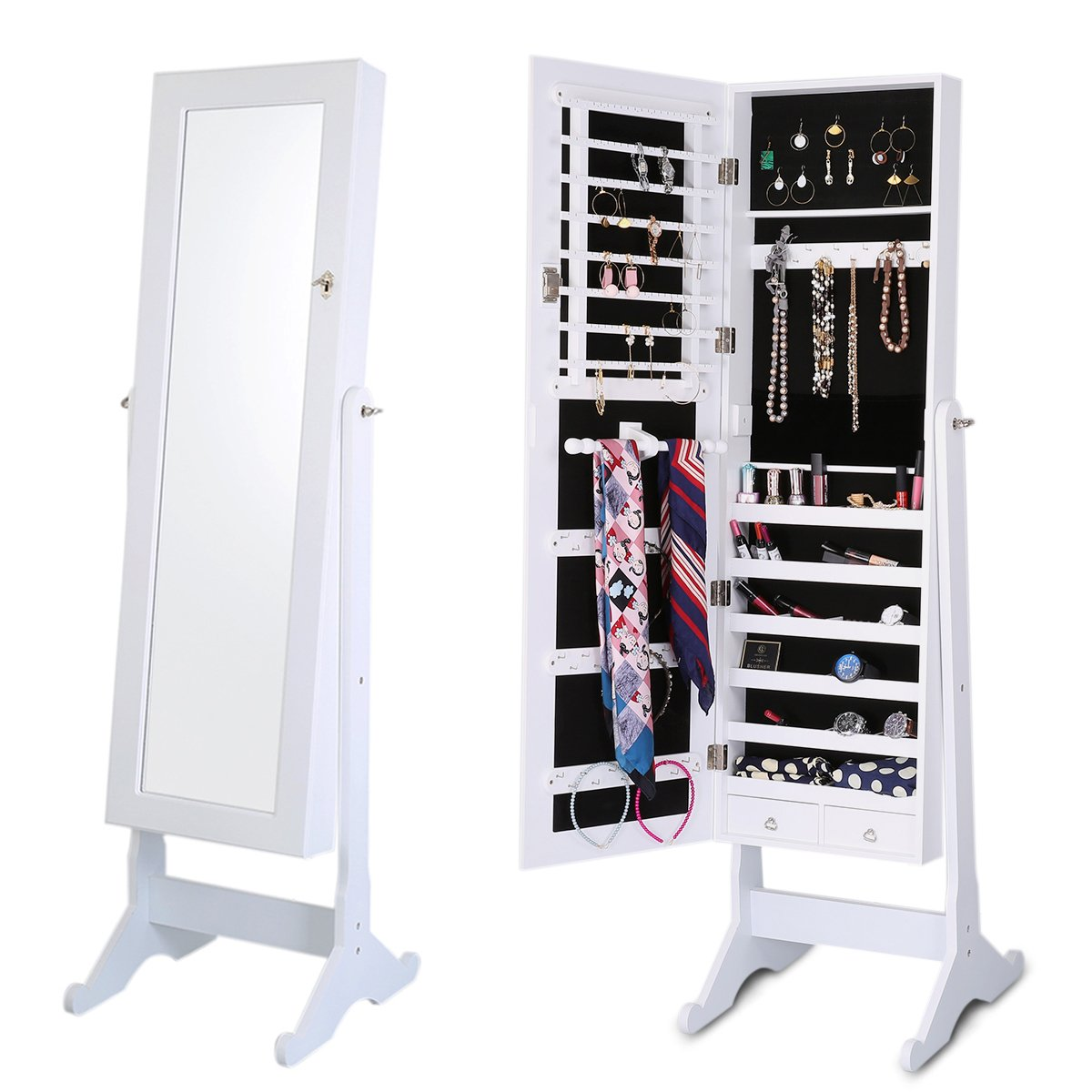 Balight Mirrored Jewelry Cabinet Armoire Lockable Standing Jewelry Armoire Organizer Mirrored Jewelry Armoire with Stand (White)