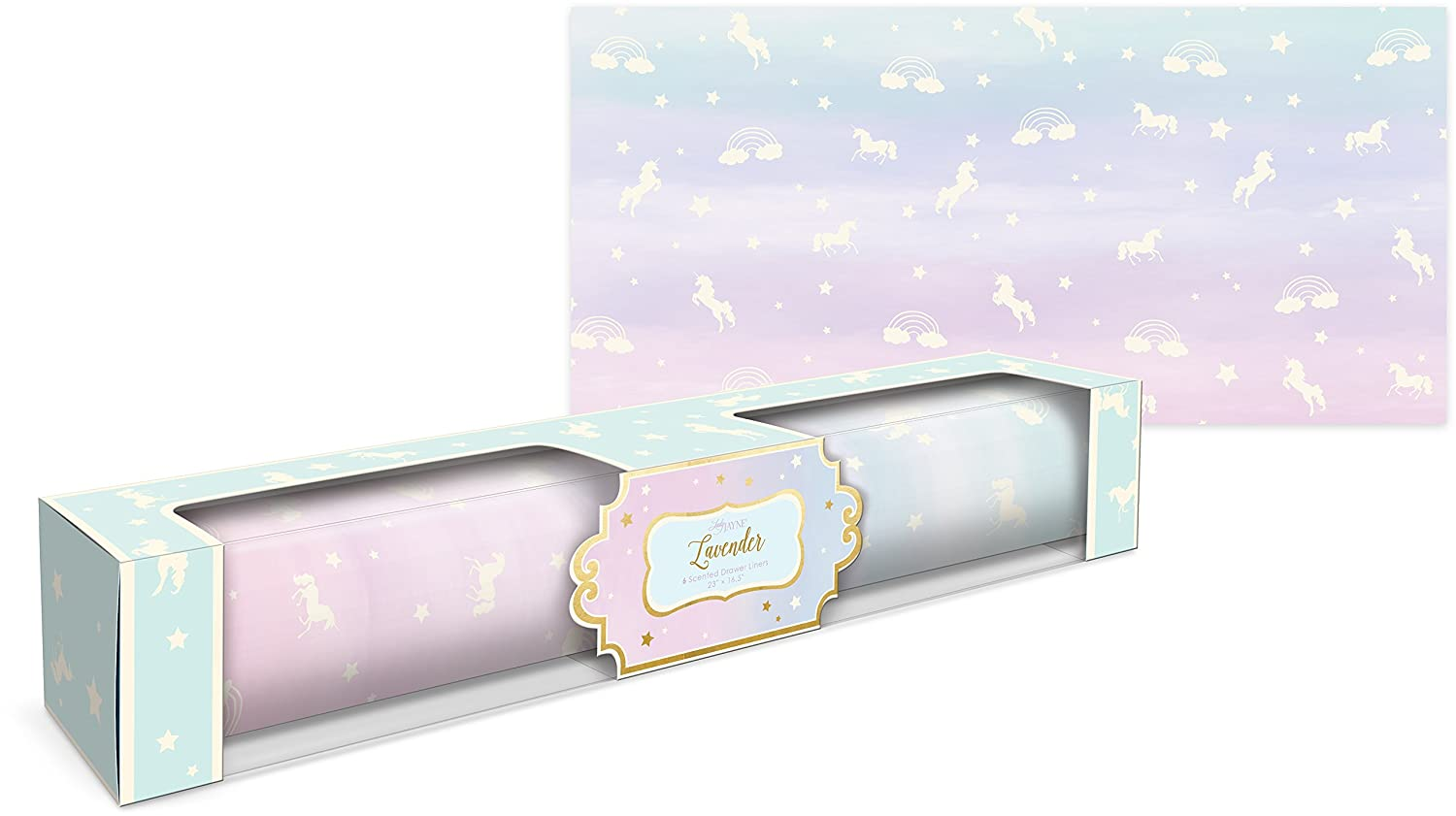 Lady Jayne Unicorn With Stars Lavender Scented Drawer Liners -- 6 Sheets 21318