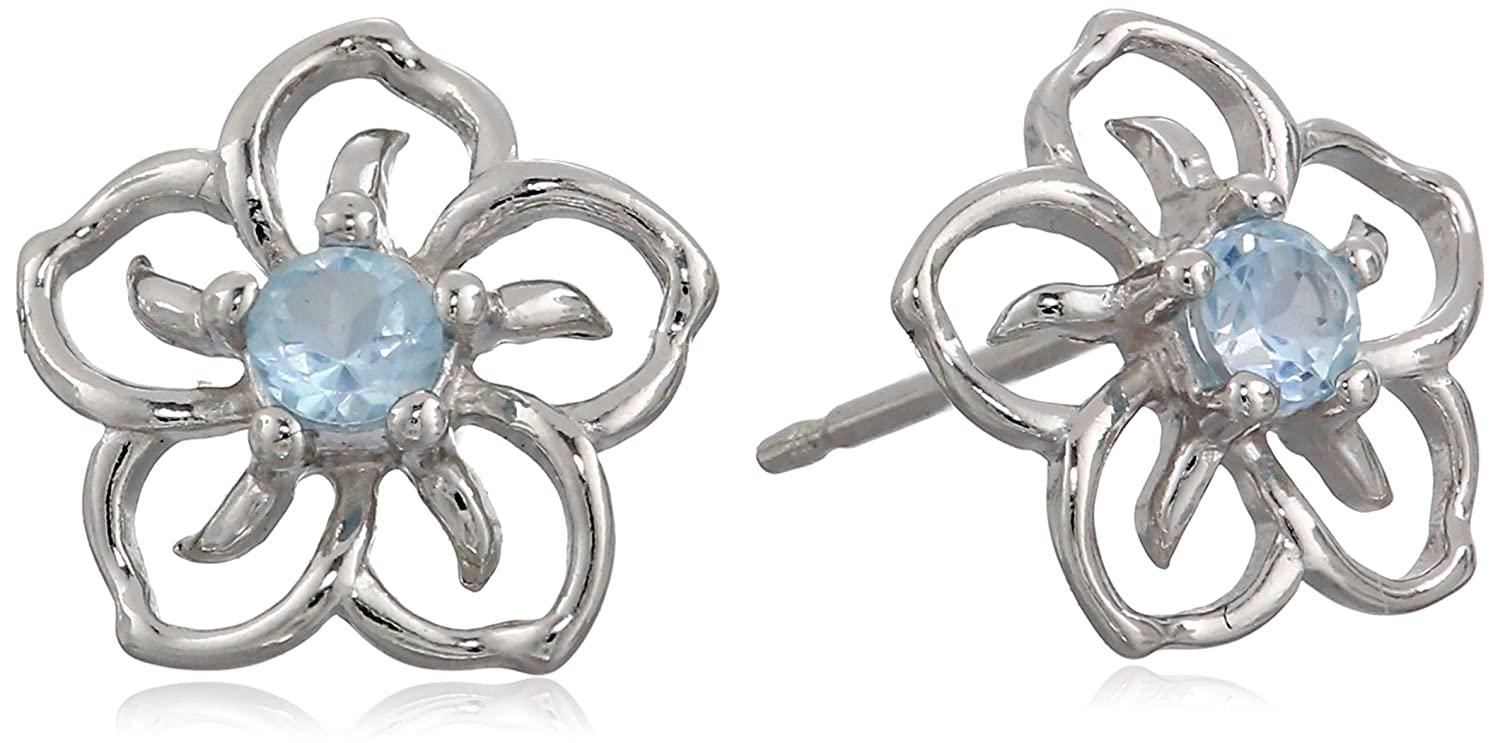 Sterling Silver Sky Flower Stud Earrings Amazon Collection R2A6M11300