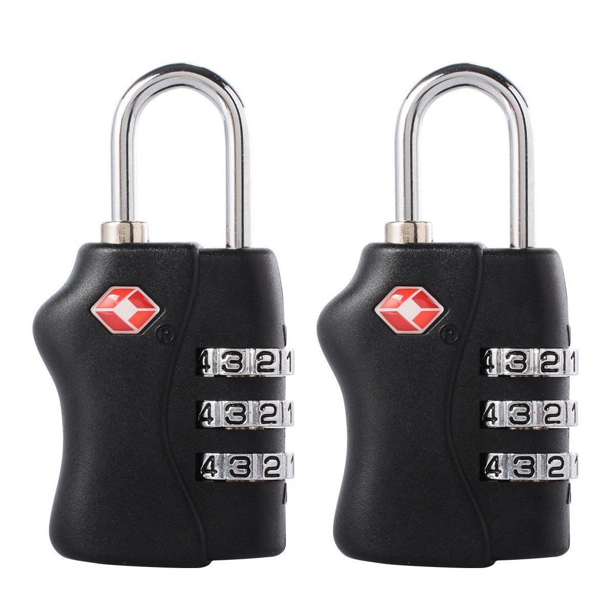 2pcs TSA Approved Luggage Travel Locks - 3 Dial Combination Padlock Security For Suitcases, Bags, Gym Lockers(Black) Sxstar
