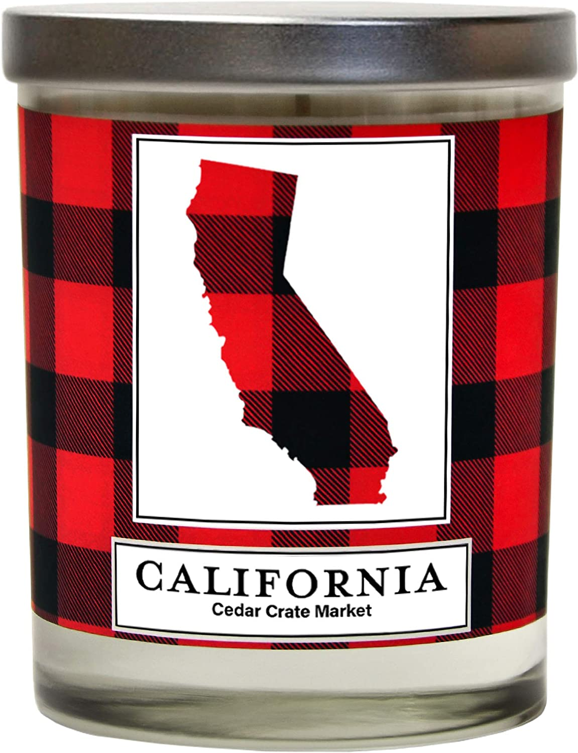 California Buffalo Plaid Scented Soy Candle | Fraser Fir, Pine Needle, Cedarwood | 10 Oz. Decorative Glass Jar Candle | Made in The USA | Going Away California Gifts for Friends | State Candles