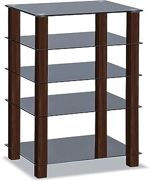Homeology Trinity - Estantería de Cristal para televisor (5 estantes, Patas Plateadas), Color Negro Brillante Patas de Nogal.: Amazon.es: Electrónica