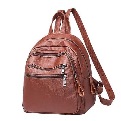 Anguang Damen Multi Tasche Schule Laptop Rucksack Retro PU