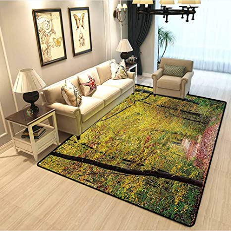 Tree Decor Carpet Rugs For Living Room Nature Theme Autumn Forest A Pathway With Fallen Leaves Digital Print Soft Area Rug In Bedroom Girl Room Avocado Green Orange W4xl6 Feet Kitchen