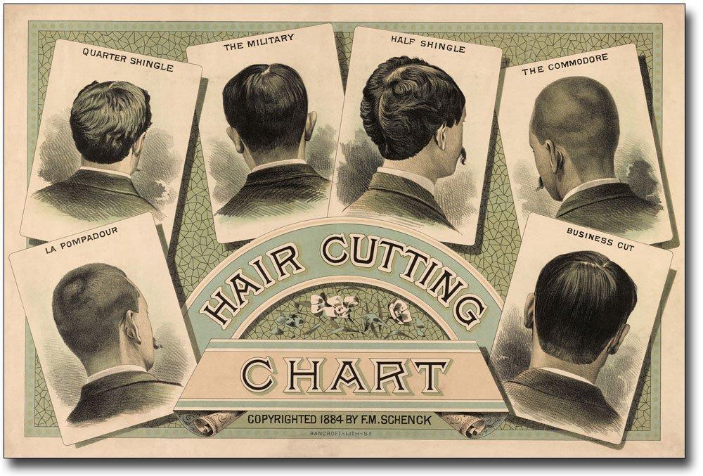 Amazon Classic Barber Shop Haircut Chart 1884 8x12 Silver