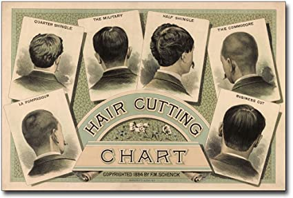 Amazon Com Classic Barber Shop Haircut Chart 1884 8x12 Silver