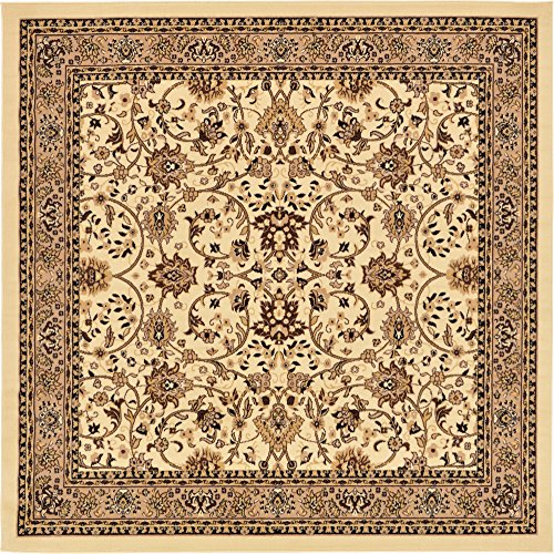 Unique Loom Kashan Collection Traditional Floral Overall Pattern with Border Ivory Square Rug (8' 0 x 8' 0) (Rug 8 Ivory Square)