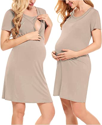 Nursing Nightdresswomen S Feeding Sleepwear Maternity Dress Short Sleeve Nursing Breastfeeding Nightdress Pregnancy Dress