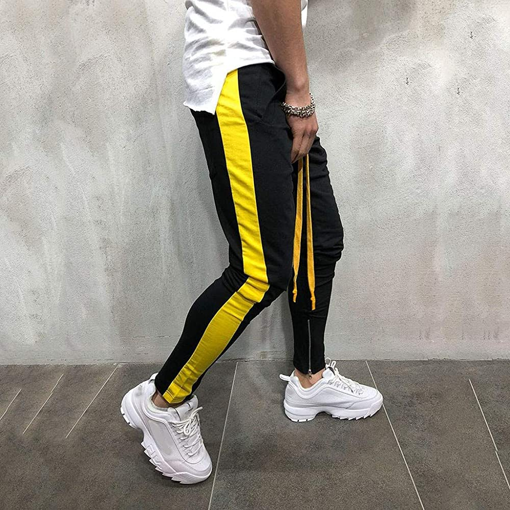 Pantalones Hombre, Chándal de Hombres Deportivos Running Pants Jogging Pantalon Fitness Gym Slim Fit Elástico Pantalones Largos Skinny Pantalones con Cordón Yvelands(Amarillo, M): Amazon.es: Ropa y accesorios