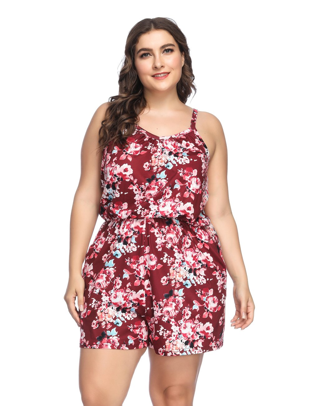 HUHHRRY Floral Romper Summer Sexy Sleeveless Elastic Waist Party Jumpsuit