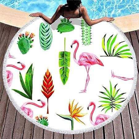 Shinelly - Esterilla de Yoga, diseño de flamencos, Mandala India, Redonda, algodón, Mantel, Toalla de Playa, Esterilla de Yoga Redonda, Bufanda, 59 en la Playa, Tiempo Libre, Flamingo, 150 cm: Amazon.es: Hogar