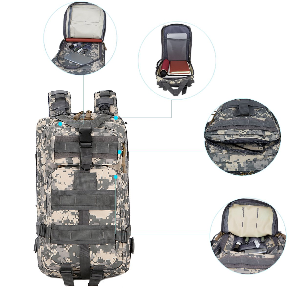 30L Military Tactical Backpack Waterproof Outdoor Bag School Book Bag for Hiking Camping Climbing Trekking Travel Daypack for Kids Teenagers Size 8.6\'\'x 5.9\'\'x 16.9\'\' (Camouflage1)