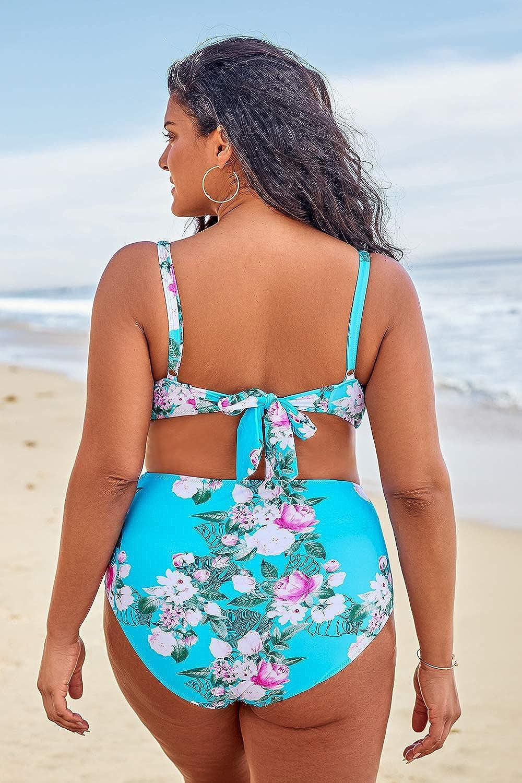 CUPSHE Womens Romantic Blue Floral Tie Plus Size Bikini