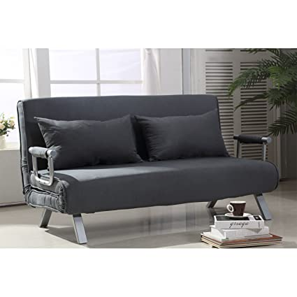 Amazon.com: ANA Store Gray Suede Upholstered Cockle Couch ...