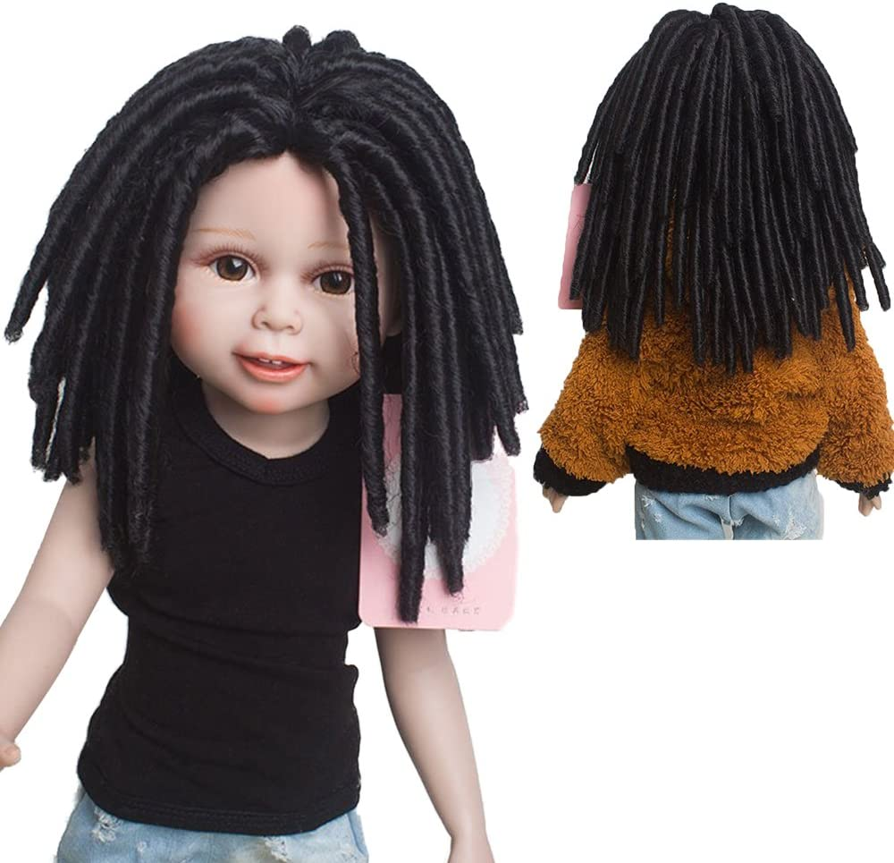 """African American Afro Curly Black Doll Wigs Dreadlocks for 18"""" Height Doll with 10.24 Inch Head"""