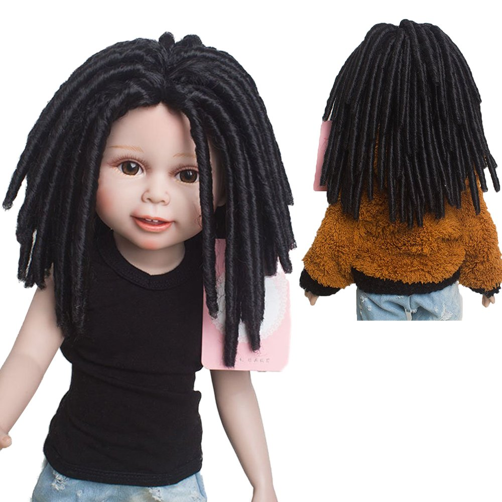 Brand New African American Afro Curly Black Doll Wigs Dreadlocks for 18 Height American Girl Doll with 10.24 Inch head Leeswig