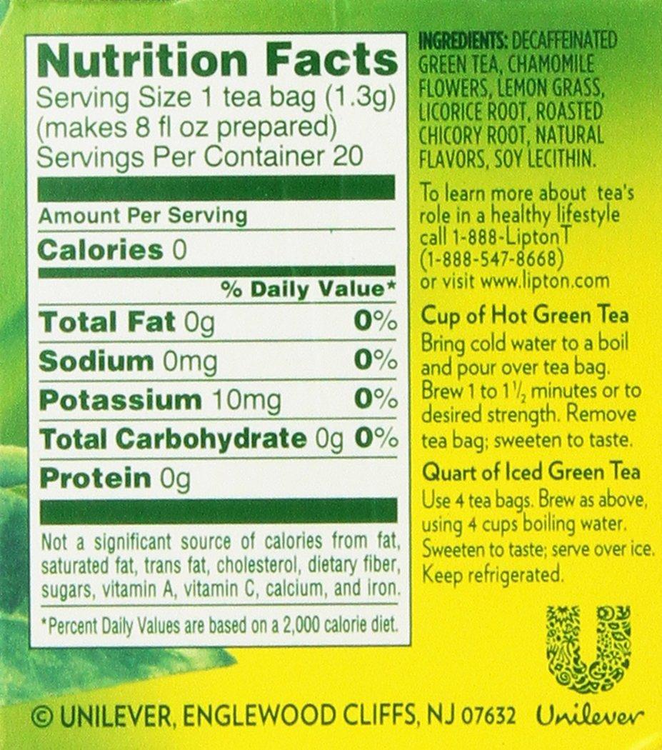 Lipton Green Tea Bags, Decaf, Honey Lemon Chamomile, 20 Count (Pack Of 3)