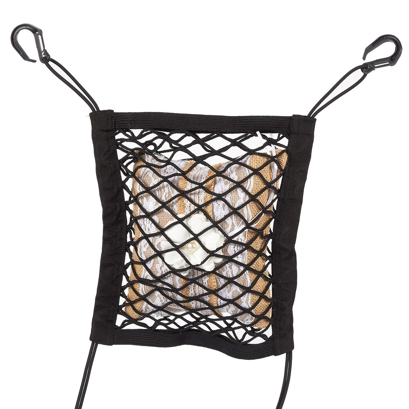 Cargo Holder Barrier Net Disturb Stopper from Children and Pets Juvale Car Seat Net Organizer 10.5 x 10.5 Inches 4350419585 Black Backseat Universal Stretchy Mesh Net Storage