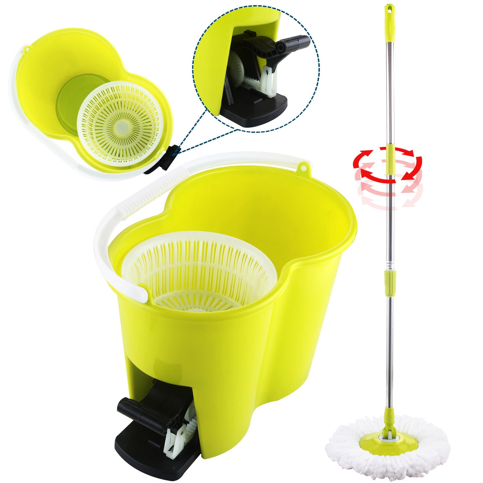 Eight24hours Magic Spin Easy Floor Mop Bucket 2 Head Green 360° Rotating + FREE E-Book by Eight24hours (Image #1)