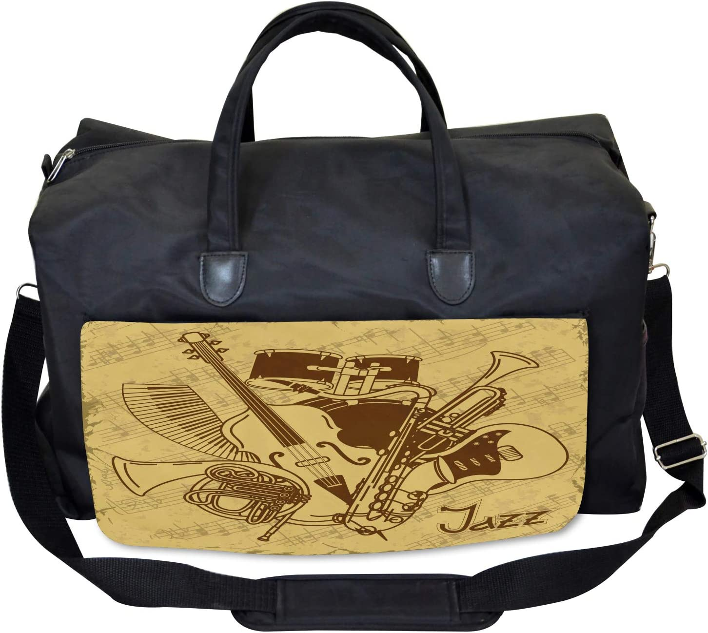 Large Weekender Carry-on Ambesonne Retro Gym Bag Jazz Music Equipments