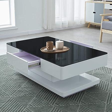 Ofcasa Table Basse Avec Rangement Pour Salon 2 Tiroirs Moderne En Verre Trempe Noir Amazon Fr Cuisine Maison