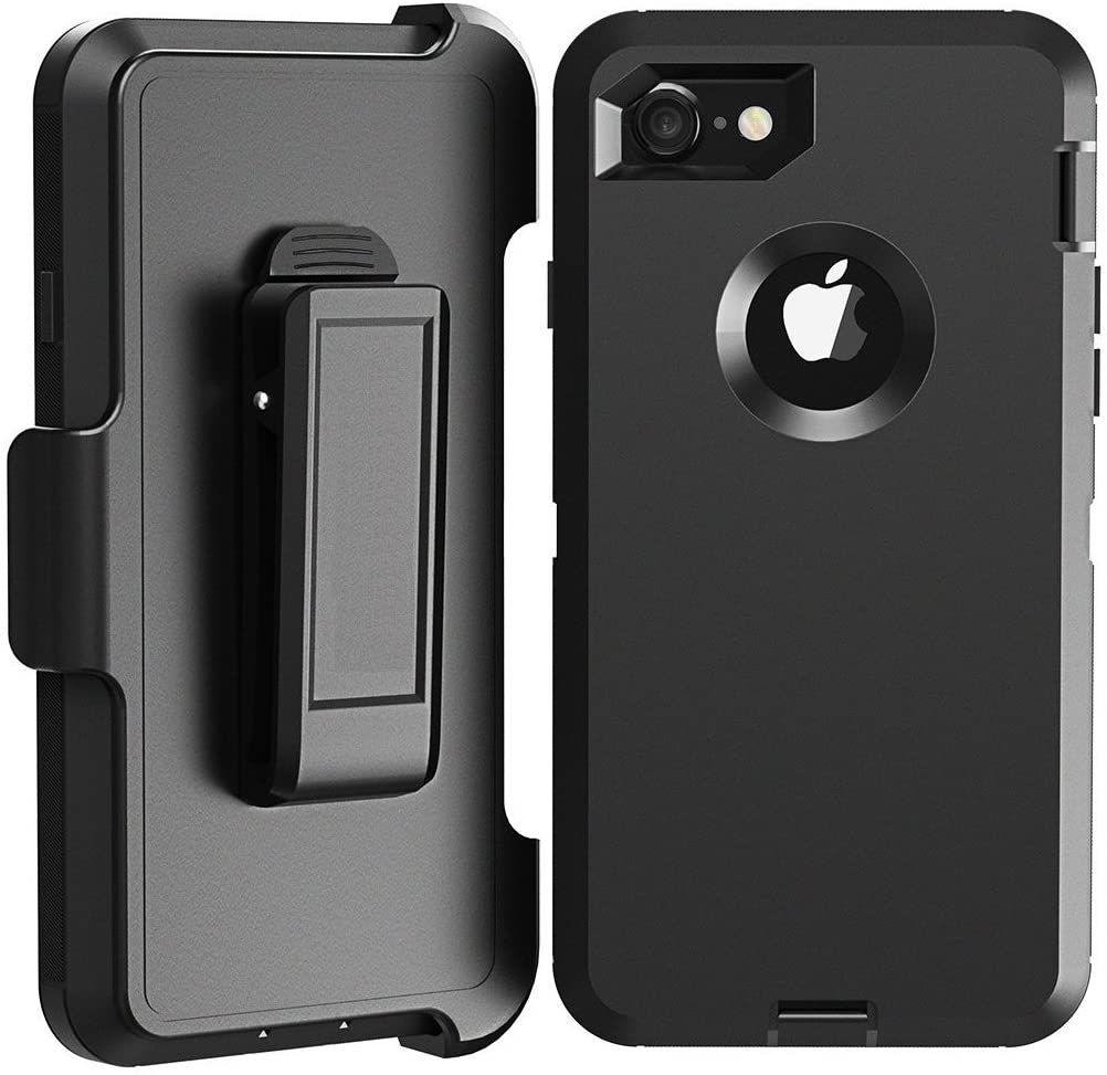iPhone 8 Plus Case, LongRise Shockproof Robost 4 Layer Rugged Case Compatiable with iPhone 7 Plus & iPhone 8 Plus with Belt Clip Holster Stand(Black)