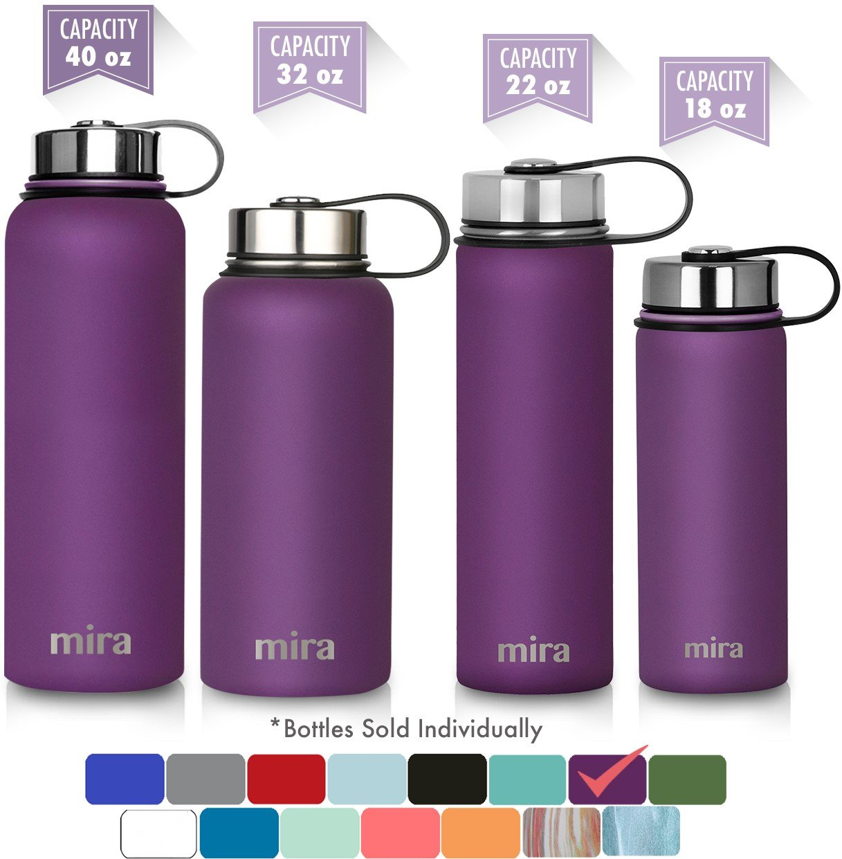 MIRA 22 Oz Stainless Steel Vacuum Insulated Wide Mouth Water Bottle | Thermos Keeps Cold for 24 hours, Hot for 12 hours | Double Wall Powder Coated Travel Flask | Iris by MIRA