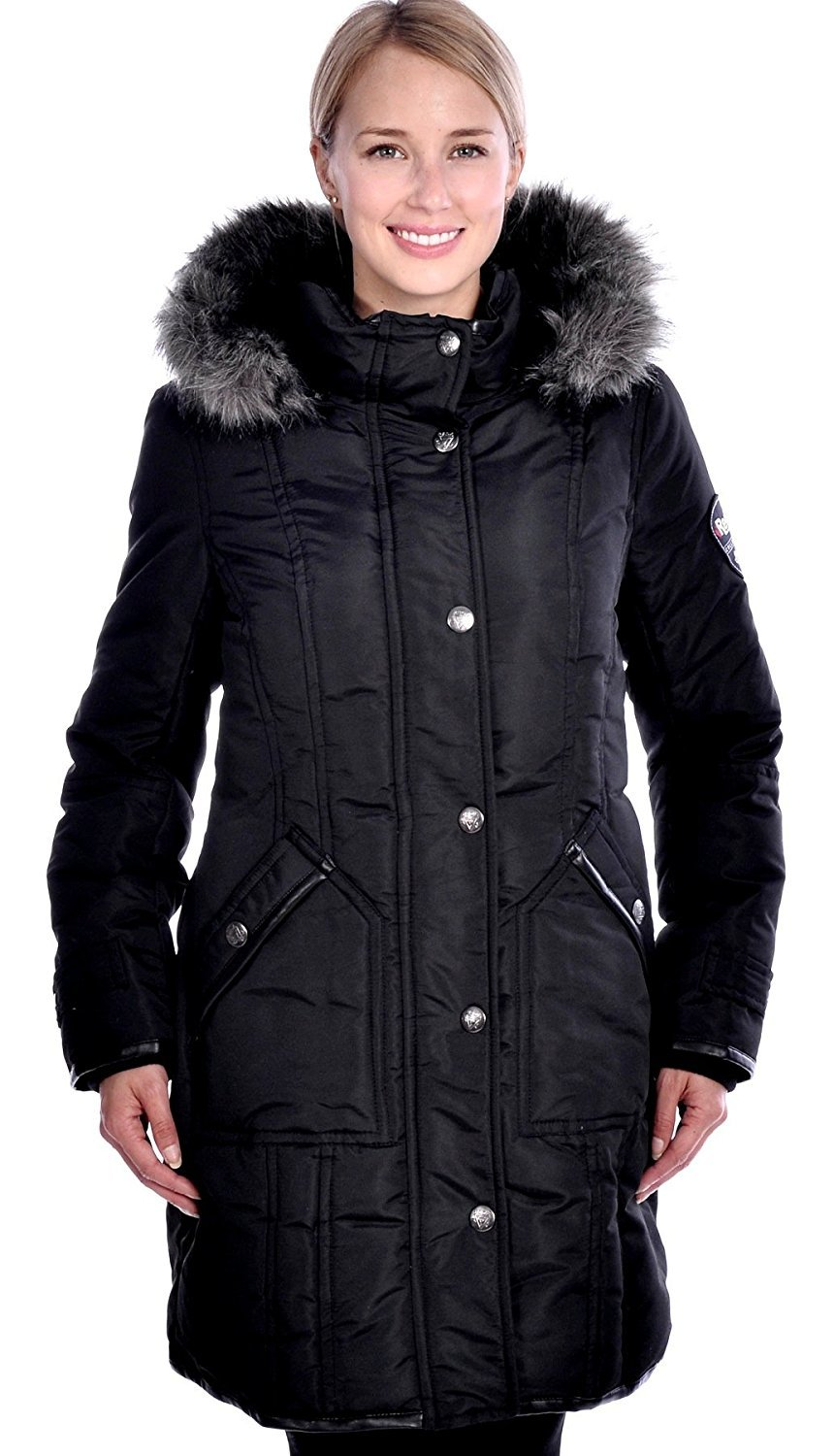 RedX Canada Women's Parka Winter Coat With Faux Fur Lined Hood (1X, Black)