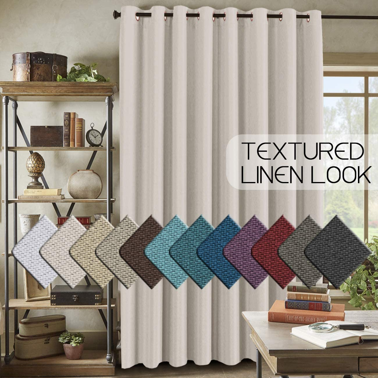 "Room Darkening Linen Curtain for Sliding Door (100"" W x 84"" L) Energy Saving Faux Linen Curtain for Living Room, Primitive Burlap Textured Linen Room Divider Curtain (7ft Tall by 8.5ft Wide, Ivory)"