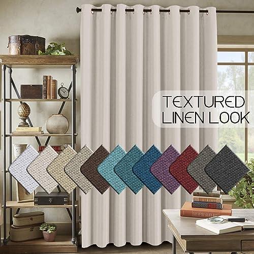 H.VERSAILTEX Wide Blackout Room Darkening Rich Quality of Textured Linen Patio Door Curtains Home Fashion Window Panel Drapes - a good cheap window curtain panel
