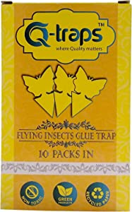 Qtraps Sticky Insect Traps - Yellow Flying Bug Catcher for Indoor House Plant, Organic Garden, Outdoor Greenhouse & More - Butterfly Shaped Paper Trap w/Eco Friendly, Non Toxic Glue-10 Pack (1)