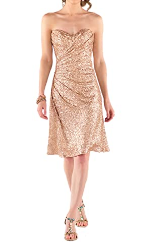 ROSAFASHION Womens Strapless Sweetheart Sequin Bridesmaid Prom Dress
