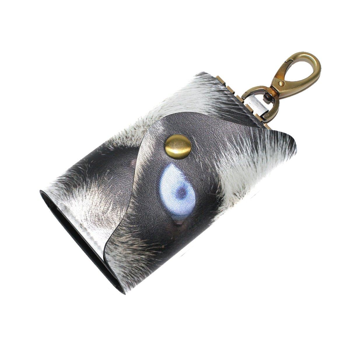 KEAKIA Blue Wolf Eyes Leather Key Case Wallets Tri-fold Key Holder Keychains with 6 Hooks 2 Slot Snap Closure for Men Women