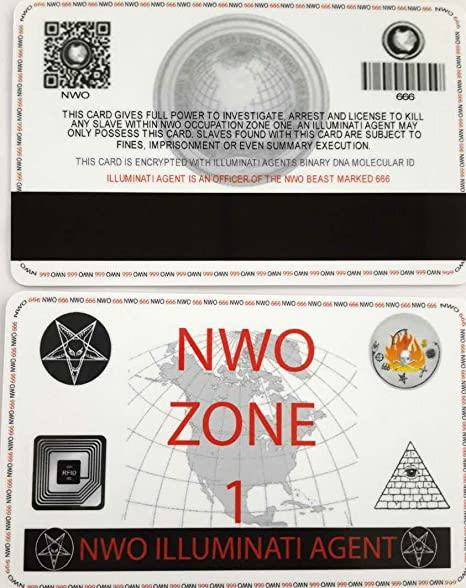 Amazon com : NWO Illuminati Secret Agent ID Card Cult Order 666