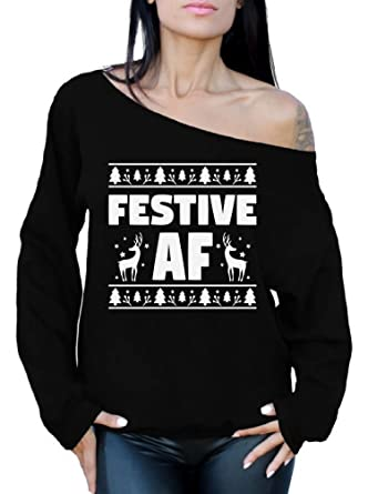 778ad85b8d89e8 Awkward Styles Festive AF Sweatshirt Festive AF Sweater Ugly Christmas Off  Shoulder Top Black S