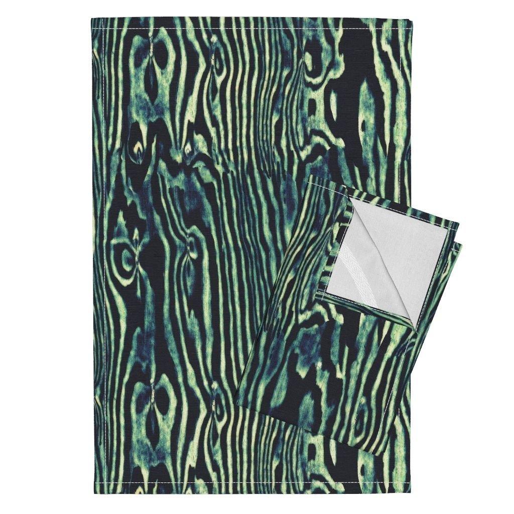 Roostery Wood Woodgrain Wood Grain Panel Faux Bois Stripes Zebra Tea Towels Faux Bois Woodgrain ~ by Peacoquettedesigns Set of 2 Linen Cotton Tea Towels