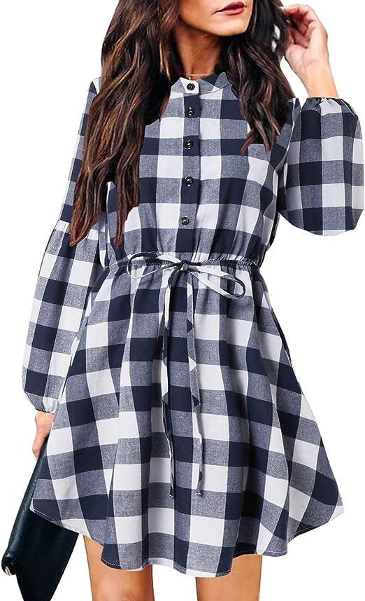 YOINS - Vestido de Camisa con Falda a Cuadros para Mujer ...