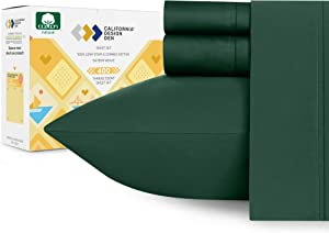 400-Thread-Count Hunter Green Sheets Queen - 100% Natural Cotton Wrinkle Resistant 4 Piece Bed Sheet Set Premium Quality Sateen Weave, Elasticized Deep Pocket Fits Low Profile Foam and Tall Mattresses