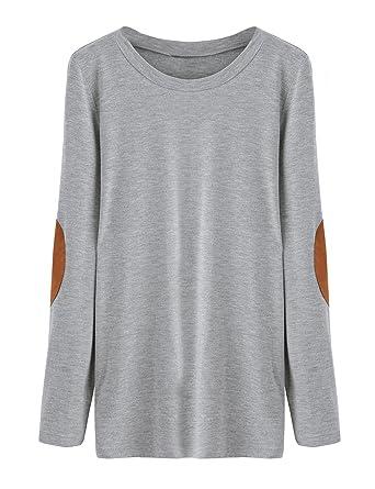 d262b81721341 ROMWE T-Shirt Basique Col Rond Manches Longues Femme