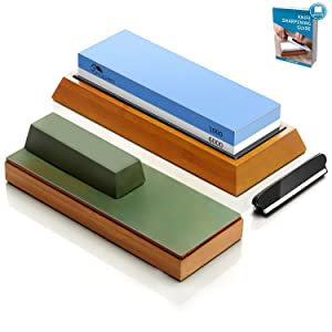 Premium Knife Sharpening Stone Set with Leather Strop Block: 2 Side 1000/6000 Grit Water Stone, Whetstone knife sharpener | Leather Honing Block with Polishing Compound,NonSlip Bamboo Base,Angle Guide