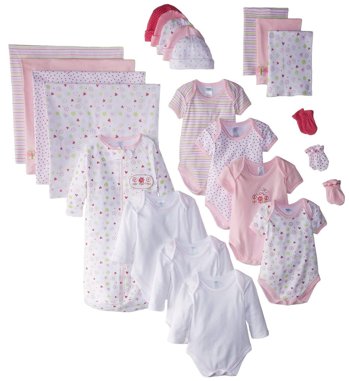 SpaSilk Essential Newborn Baby Layette Set - 0-6 Months - Pink Girl, Set of 23 by Spasilk