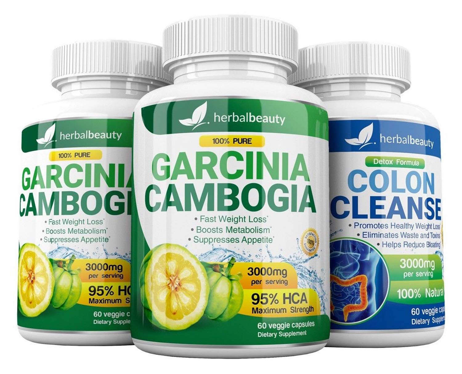 Garcinia Cambogia Extract Colon Cleanser- 95 HCA 3000mg Capsules – Quick Cleanse to Support Detox, Weight Loss Increased Energy Levels – 3 Pack Bundle
