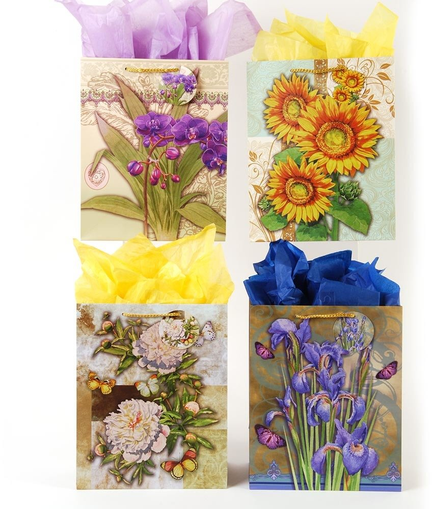 Flomo 2168878 Elegant Bouquets of Flowers Gift Bags - Extra Large44; Case of 108