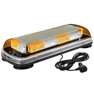 "ASPL 17"" Emergency Mini LED Light bar, 64LED High Visibility Low Profile Roof Mount Strobe Light Bar, With Magnet Base,for All 12-24V Emergency Vehicle (Amber/White/Amber/White): Automotive"