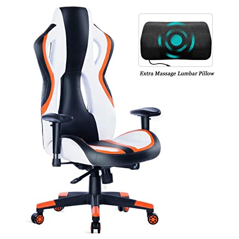 Phenomenal Healgen Gaming Chair Racing Style High Back Pu Leather Office Chair Pc Desk Chair Executive And Ergonomic Swivel Chair 907 Orange Ibusinesslaw Wood Chair Design Ideas Ibusinesslaworg