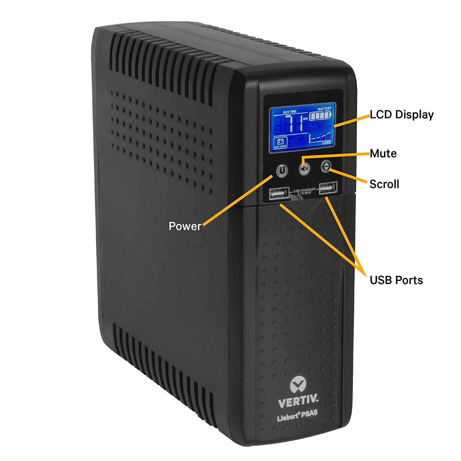 Full Unit Replacement Warranty 10 outlets and Three-Year PSA5-1500MT120 Vertiv Liebert PSA5 1500VA 900W line-Interactive UPS with AVR Technology and Battery Backup