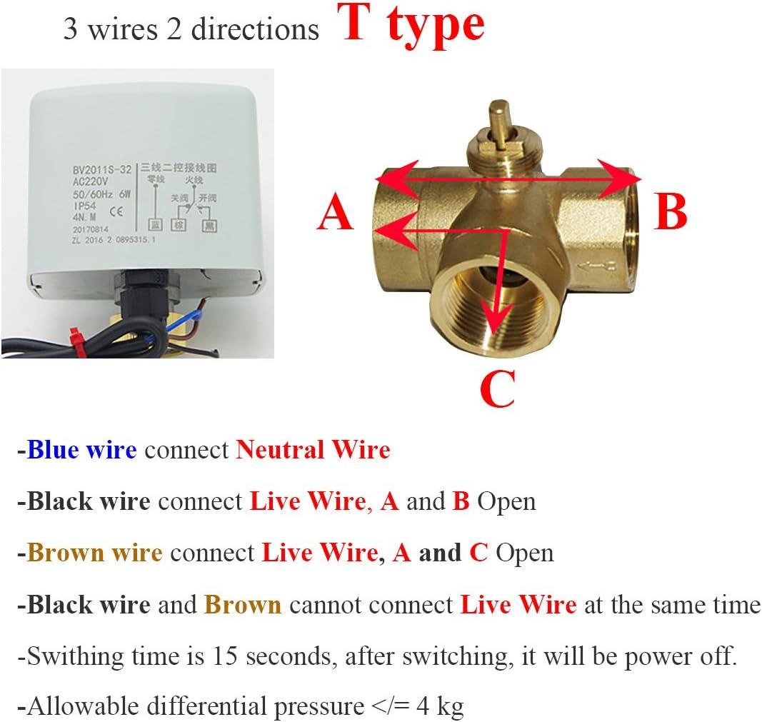 Tipo T o Tipo L 1 unidad v/álvula motorizada 220V 3 vias DN15 DN20 DN25 v/álvula bola esfera