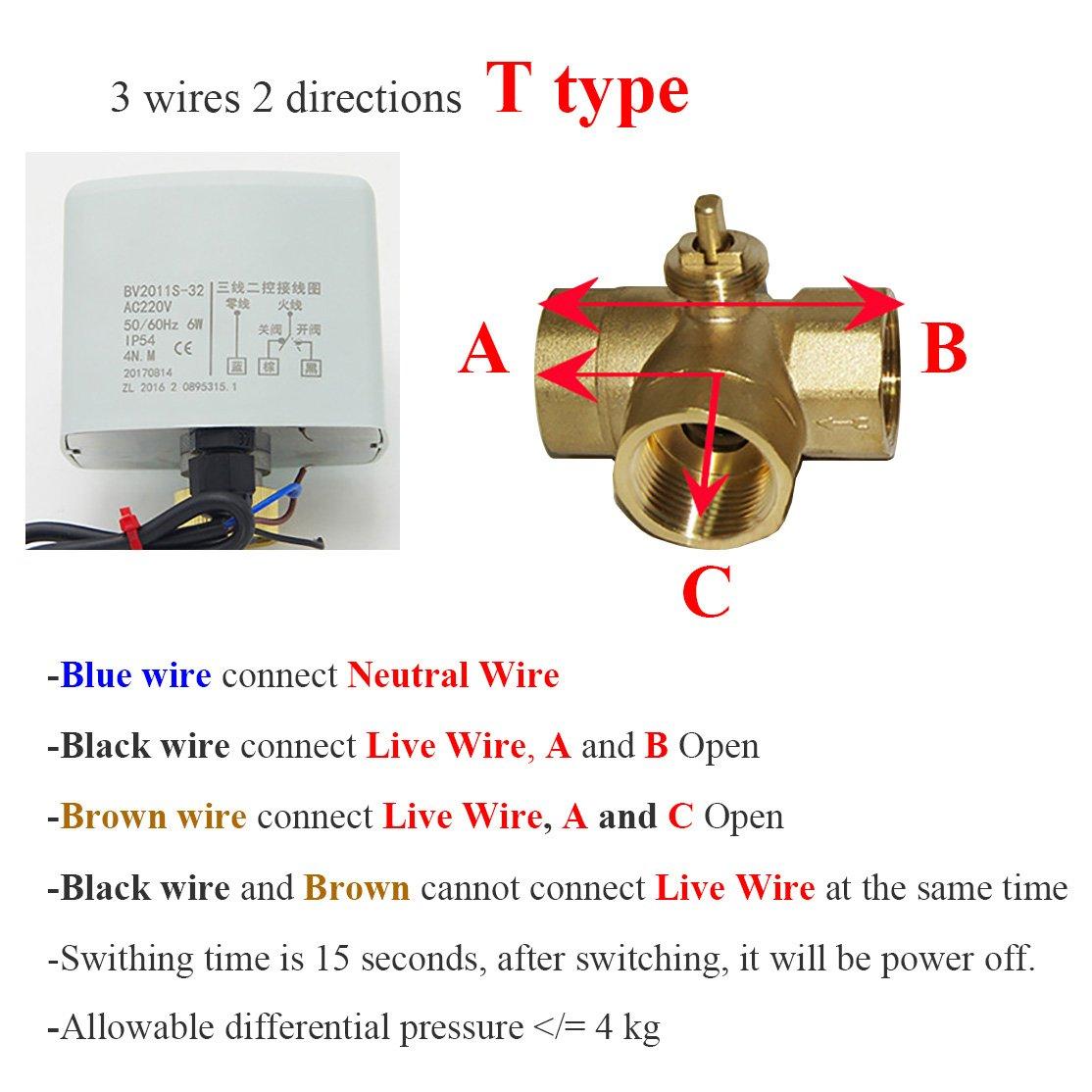 1 unidad v/álvula motorizada 220V 3 vias DN15 DN20 DN25 Tipo T o Tipo L v/álvula bola esfera